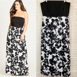 City Chic painted poppy floral black maxi dress